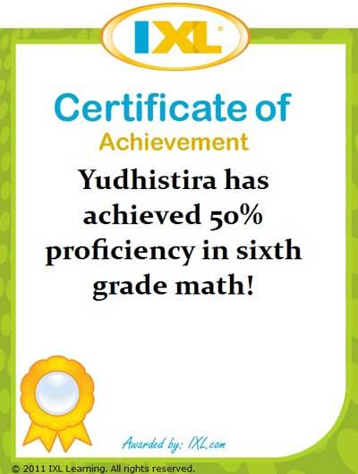 IXL Math Yudhis: 50% dari Kelas 6